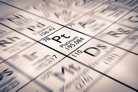 neutrons: Focus on precious metal Platinum chemical element Stock Photo