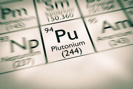 mendeleev: Focus on radioactive Plutonium chemical element Stock Photo
