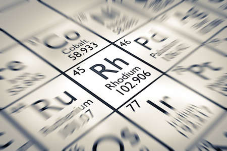 Focus on Rhodium Chemical Element from the Mendeleev periodic table