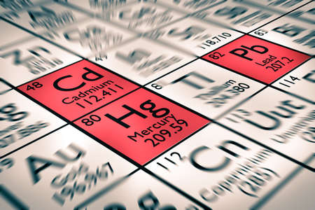 Focus on ROHS r?glements lead cadmium mercury Chemical Elements Stock Photo