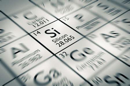 silicio: Centrarse en silicio elemento químico de la tabla periódica de Mendeleiev