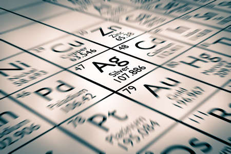 mendeleev: Focus on Chemical Element Silver from the Mendeleev periodic table Stock Photo