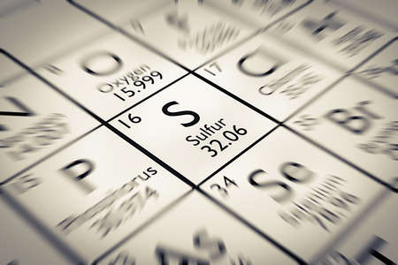 mendeleev: Focus on Sulfur Chemical Element from the Mendeleev periodic table Stock Photo