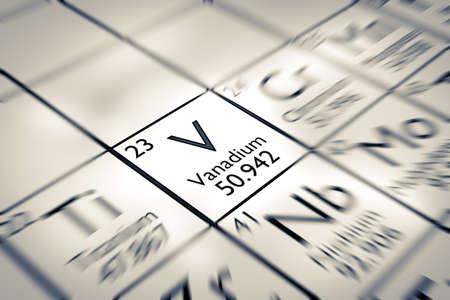 vanadium: Focus on Vanadium Chemical Element from the Mendeleev periodic table Stock Photo