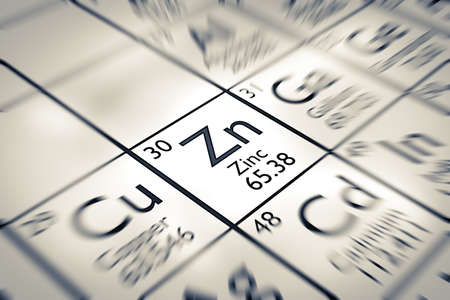 Focus on Zinc chemical element from the Mendeleev periodic table 免版税图像