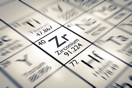 mendeleev: Focus on Zirconium chemical element from the Mendeleev periodic table
