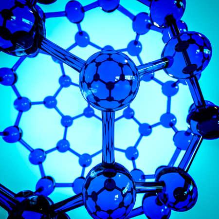 superconductivity: Glass close-up fullerene on blue background Stock Photo