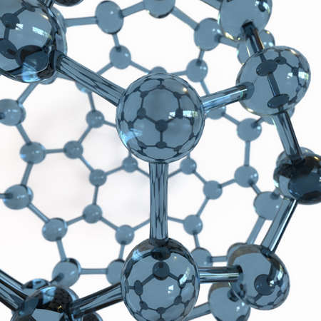 superconductivity: Glass Fullerene close-up on white background Stock Photo