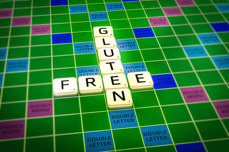hypoallergenic: Gluten free letters. Concept photo of healthy food lifestyle. Stock Photo