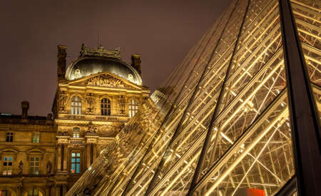louvre pyramid: Close-up view of the Louvre pyramid during the night or how beautiful the anscient can light on night !