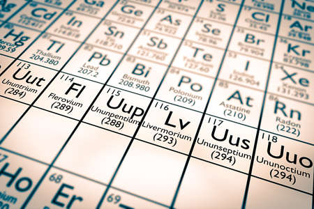 electrons: New chemical elements focus Stock Photo
