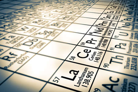 analyses: A illustration of some chemical elements from the Mendeleiv periodic table: rare earth elements or lanthanides ! Stock Photo