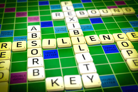 Resilience words displayed in a crossword way Imagens