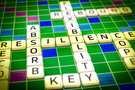 Veerkracht weergegeven woorden in een kruiswoordpuzzel manier Stockfoto