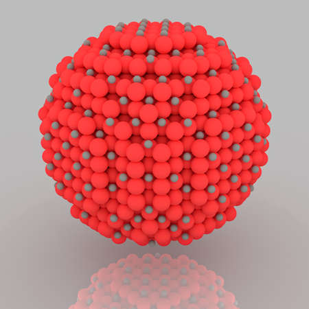 Small red and grey nanoparticle with crystal atoms