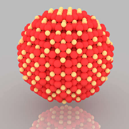 Small red and yellow nanoparticle with crystal atoms