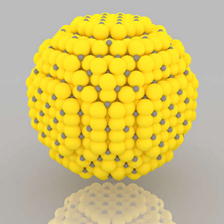 Small yellow and grey nanoparticle with crystal atoms