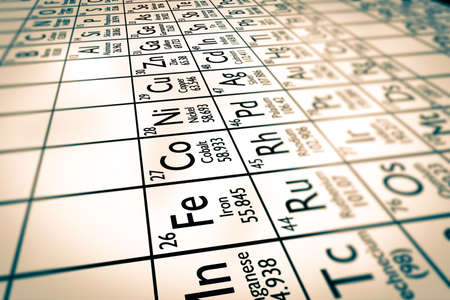 antimony: A illustration of some chemical elements from the Mendeleiv periodic table: transition metals ! Stock Photo