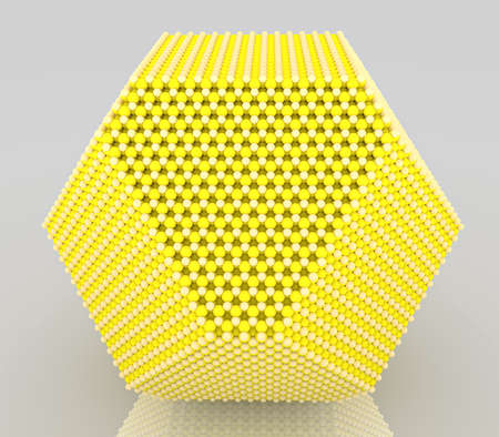Yellow nanoparticles with crystal atoms
