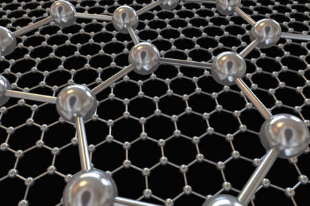 superconductivity: 3D illustration of Graphene atomic structure on black background Stock Photo