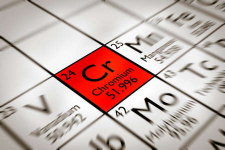 cr: Focus on forbidden Chromium chemical element from the Mendeleev periodic table Stock Photo