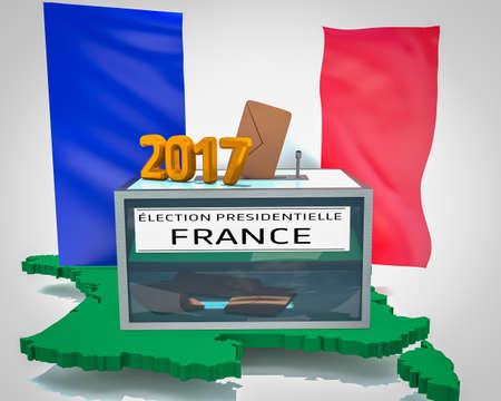 bulletins: Election 2017 sur carte France verte, focus urne Stock Photo