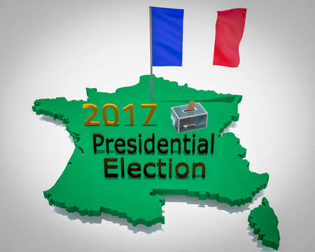 French presidential election in 2017, grey map Stock Photo