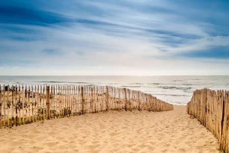 world sport event: Path to beautiful beach, Lacanau, France Stock Photo