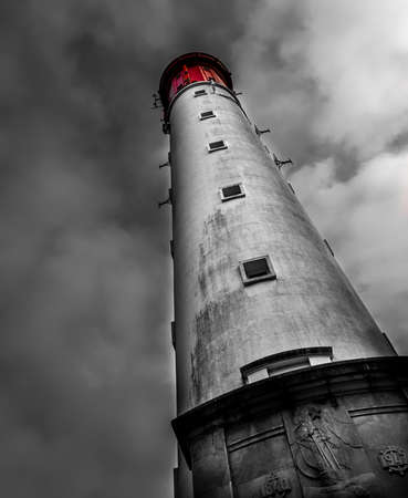 Beautiful lighthouse in Cap Ferret; France, selective colors Stock Photo