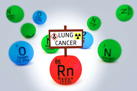 radon: 3D illustration of Radon cause lung cancer Stock Photo