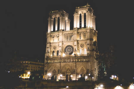 Notre Dame Cathedral desaturated look in Paris, France