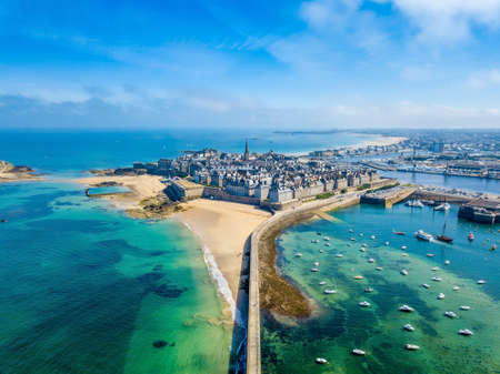 Aerial view of the beautiful city of Privateers - Saint Malo in Brittany, France Stock Photo