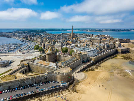 st malo: Aerial view of the Saint Malo, city of Privateers - in Brittany, France