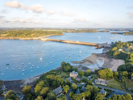 Aerial view on Barrage de la Rance in Brittany close to Saint Malo, Tidal energy at sunset