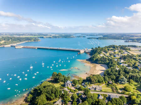 Aerial view on Barrage de la Rance in Brittany close to Saint Malo, Tidal energy Stok Fotoğraf