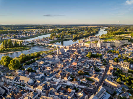 Aerial view of Amboise city, Loire valley Imagens