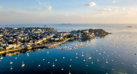 Aerial view of Dinard harbor Imagens