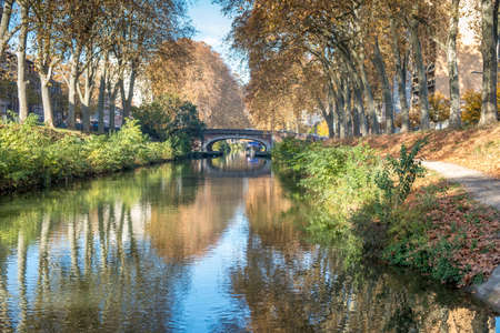 Walk along canal du midi in Toulouse France during autumn