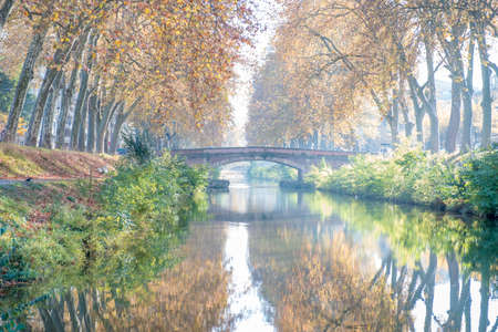 Canal du midi in Toulouse France during autumn