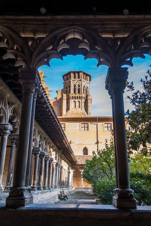 Cloister of Augustins with an arch frame in Toulouse France Editorial