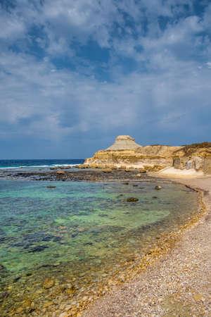 Beach view of Salt Pans, Xwejni Bay, Xwejni, Gozo Island, Malta, Europe Reklamní fotografie