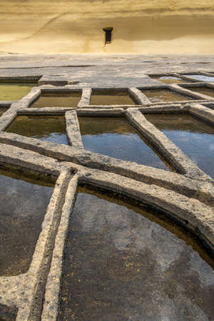 Salt pans located near Qbajjar on the maltese Island of Gozo. Detailed view