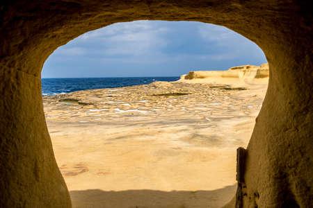 Salt pans located near Qbajjar on the maltese Island of Gozo. Original framing Reklamní fotografie