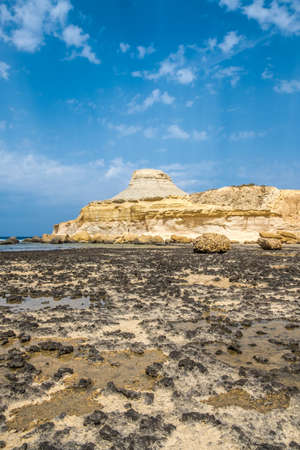 Sandstone butte of Xwejni Bay, Xwejni, Gozo Island, Malta, Europe