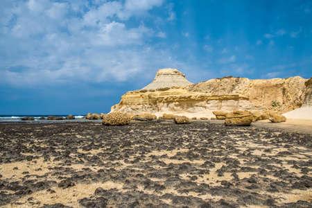 Scenic view of Salt Pans, Xwejni Bay, Xwejni, Gozo Island, Malta, Europe
