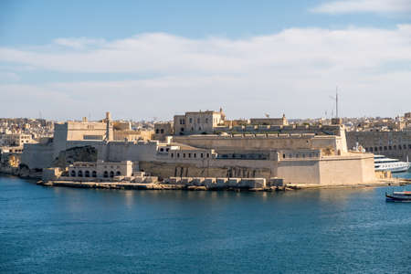 Panorama of the Fort St. Angelo of La Vittoriosa in Malta