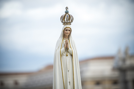 Vatican City, October 08, 2016: Statue of Our Lady of Fátima during a Marian Prayer Vigil in St. Peter's Square at the Vatican. Editorial