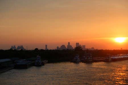 mississippi river: new orleans city sunset sun. Stock Photo
