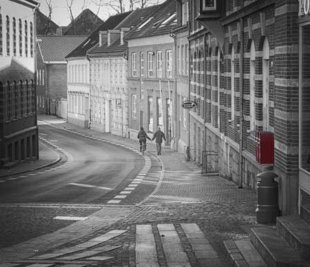 man and woman walking down the street Stock Photo - 18951275
