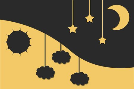 Day and night background, yellow moon on gray background with stars and a gray sun on a yellow background with clouds photo